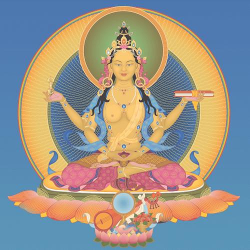 Prajnaparamita 2 with offerings and background